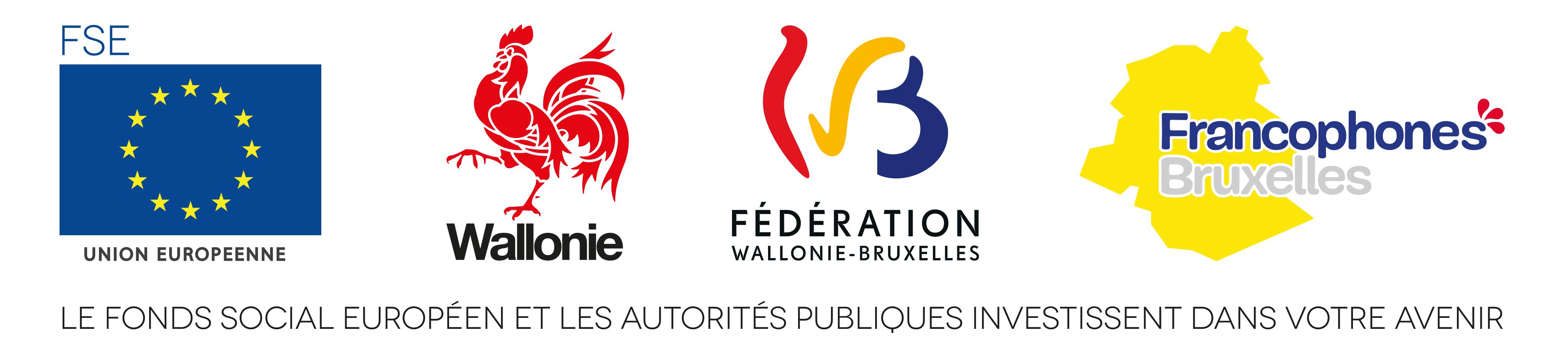 FSE, Wallonie, FWB, Francophones Bruxelles : le Fonds social européen et les autorités publiques investissent dans votre avenir.